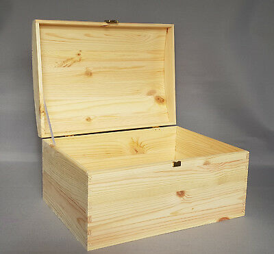 Plain Wood Chest Treasure Wooden Box Jewellery Craft Hinges Hasp Home Decor Gift