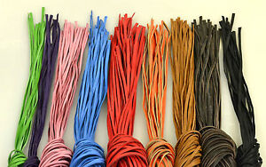 Bundle-of-10-Colour-Leather-thongs-straps-strips-140cm-240cm-5-10mm-wide