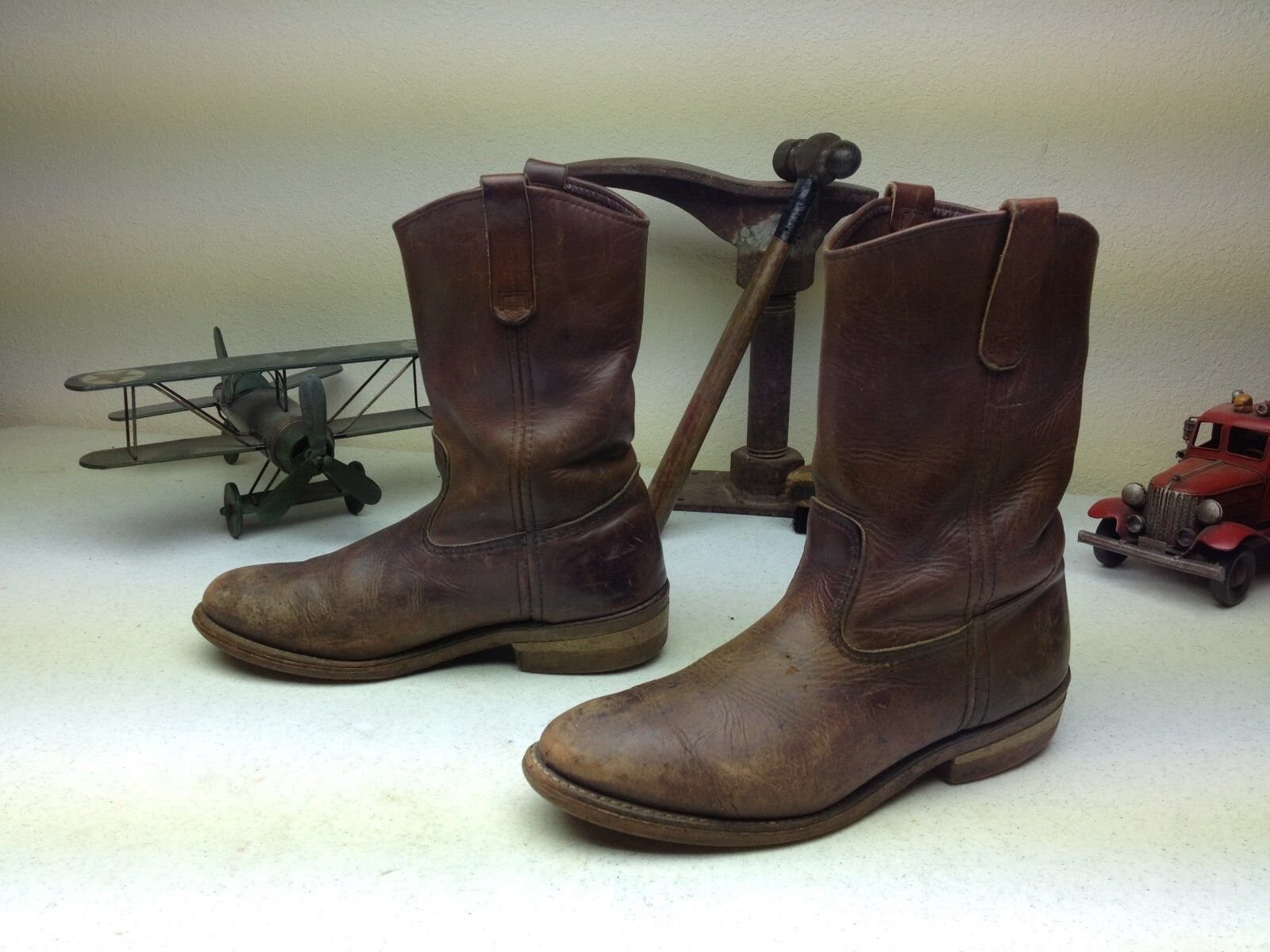 DISTRESSED USA RED WING ENGINEER WORK CHORE BROWN AMBER HONEY LEATHER BOOT 8 D