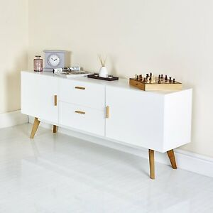 White-Wood-Retro-Cupboard-Drawer-Unit-Storage-Sideboard-Living-Room-Furniture