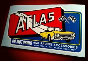 Vintage Style ATLAS HO MOTORING • 1962 T-Bird • Slot Car Sticker • Pit Box Decal