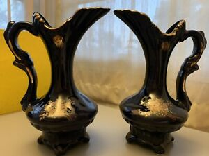 Blue-European-Ceramic-Vase-Set-New-Vintage