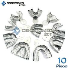 Dental Stainless Steel Perforated Impression Trays Autoclavable Set Of 10