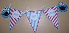 """Birthday Party Banner (Cookie Monster) Customized - 12 1/2""""wide x 4 1/2""""long"""