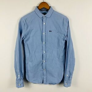 Superdry-Mens-Button-Up-Shirt-Size-XS-Blue-Long-Sleeve-Smart-Casual