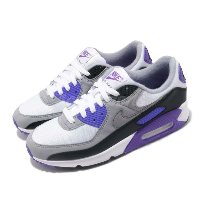 Nike Air Max 90 OG White Grey Hyper Grape Purple Mens Casual Shoes CD0881 104