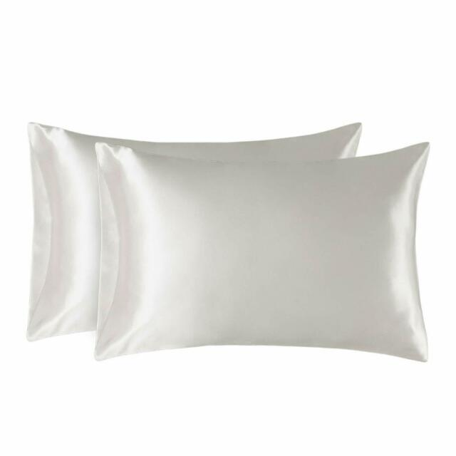 Bedsure Two-Pack Satin Pillowcases Set for Hair Cool and Easy to WASH Queen Size