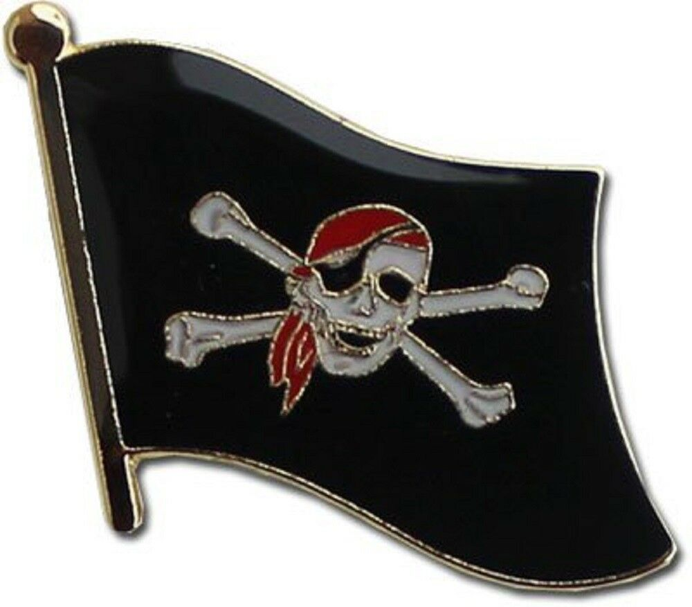 Wholesale Pack of 50 Jolly Roger Pirate rot Hat Flag Bike Hat Cap lapel Pin