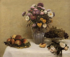 Oil Henri Fantin Latour White Roses Chrysanthemums in a Vase Peaches and Grapes