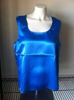 Maurada Sleeveless Tank Top 16 Blue Silky Cami Ladies Casual Polyester