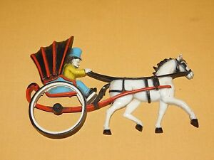 VINTAGE-9-1-2-034-LONG-1975-HOMCO-PLASTIC-HORSE-amp-CARRIAGE-WALL-DISPLAY