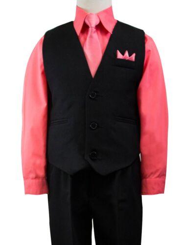 Tie Size 2T-14 Wedding Boys Solid Black Vest Suit Set with Colored Dress Shirt