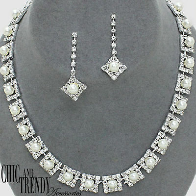 Engagement & Wedding Cheap Price Clearance White Pearl Prom Bridesmaid Wedding Formal Necklace Jewelry Set Trendy