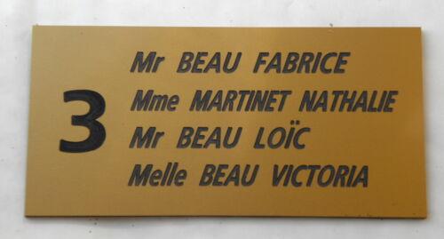 plaque gravée boite lettres porte personnalisée 3//4 lignes N° FT 48 x 100 mm