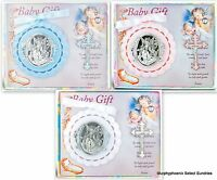 Hirten Gift Set Guardian Angel Crib Medal + Baby Crucifix Pink, Blue Or White