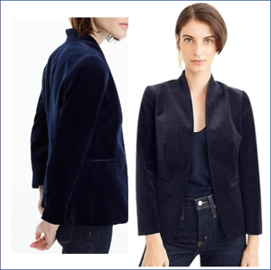 J-Crew-Womens-Blazer-14-Velvet-Blue-Going-Out-Stretch-Open-NWT-Style-K2627