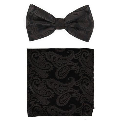 New formal Men/'s micro fiber Pre-tied Bow Tie /& Hankie Brown black paisley