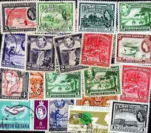 GUYANA-BRITANICA-BRITISH-GUAYANA-colecciones-de-25-a-50-sellos-diferentes
