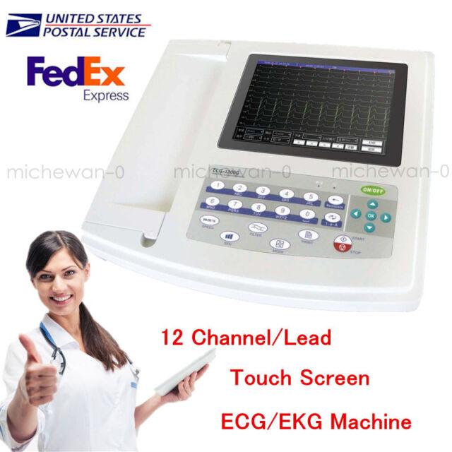 12-lead Digital 12-channel Electrocardiograph ECG/EKG Machine Interpretor Touch