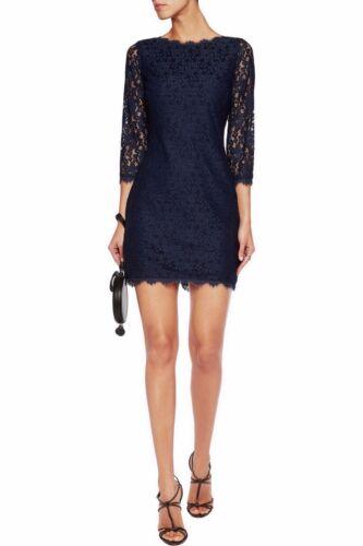 NWT Diane Von Furstenberg DVF Colleen Lace Sheath Shift Dress Midnight size 6