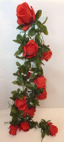 Rosengirlande rot//Knospe ca.190 cm Kunstblumen Seidenblumen