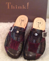 $195 Think Julia Patchwork Leather Mule Clog Shoe Womens Sz 36 5 - 5 1/2 M