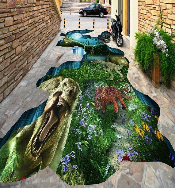 3D dinosauro foresta Pavimento Foto Wallpaper Murales Muro Stampa Decalcomania