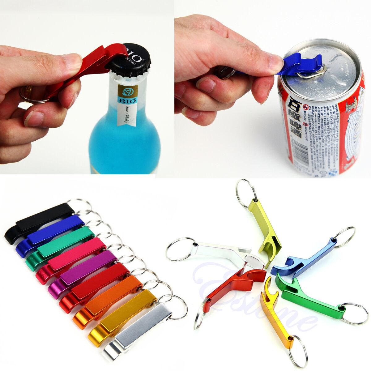 1x Metal Openers Key Chain Keychain Ring Beer Bottle Can Opener BeverageER