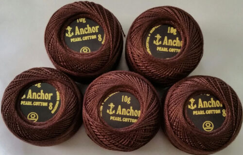Size # 8, 10 gm New 5 Anchor Balls Pearl Cotton Crochet Embroidery Thread