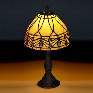 Image Is Loading Kilbride Tiffany Bronze Table Lamp And Leaded Cream