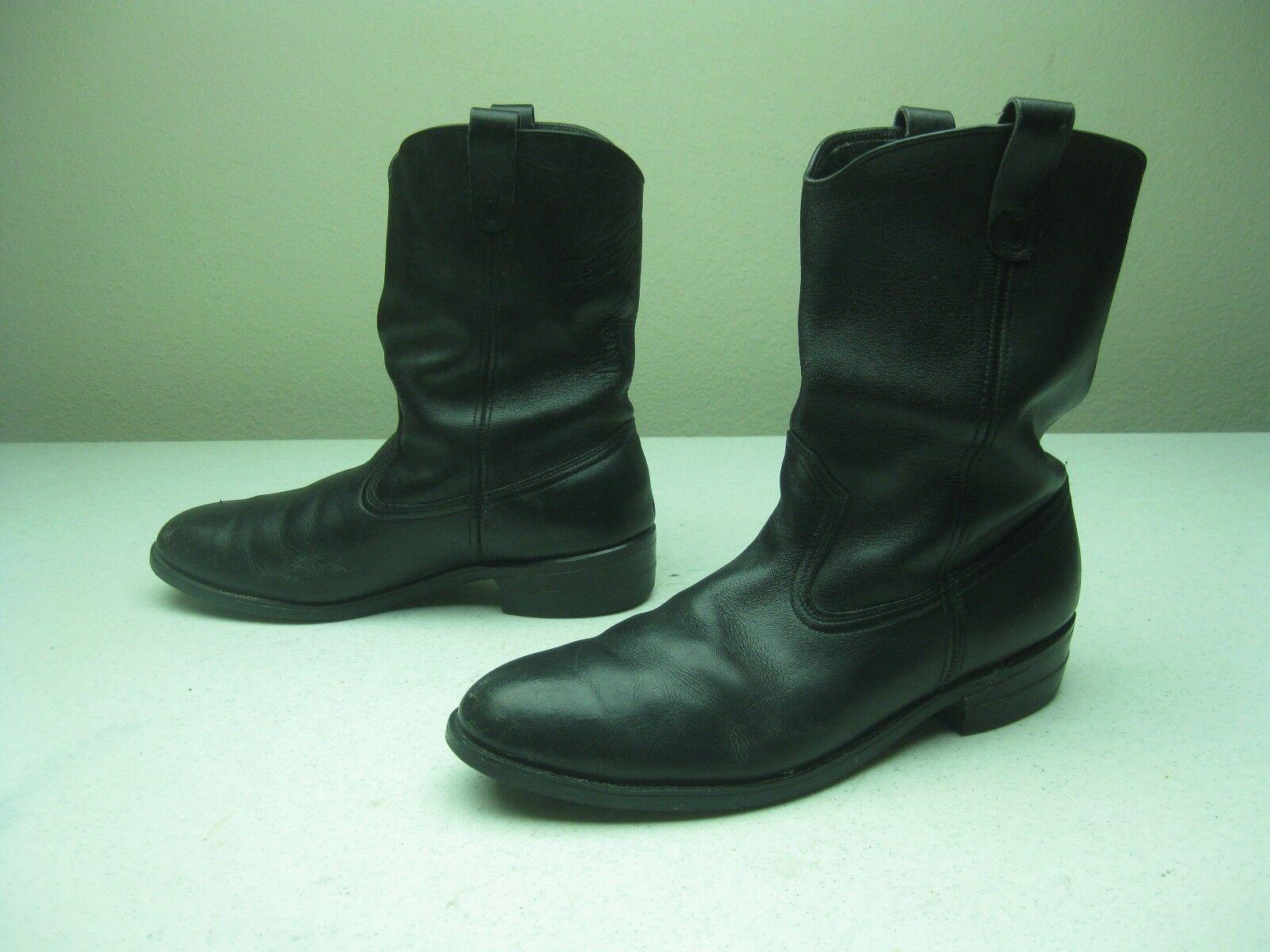 Vintage steel toe HY-TEST en cuir noir Ingénieur Motard Bottes de moto Sze 8 D
