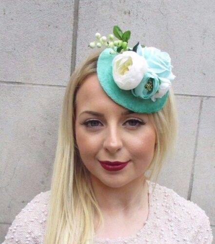 Turquoise Mint Green Cream Rose Flower Fascinator Hat Pillbox Hair Clip Vtg 2609