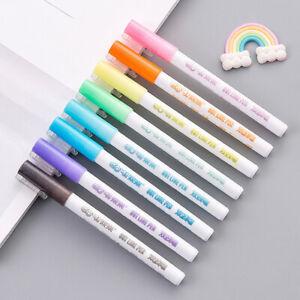 Contorno-de-revestimiento-de-doble-8Pcs-Set-pluma-de-Escribir-Dibujar-Boligrafos-Papeleria