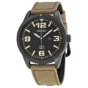 Seiko-Solar-Black-Dial-Beige-Nylon-Men-039-s-Watch-SNE331