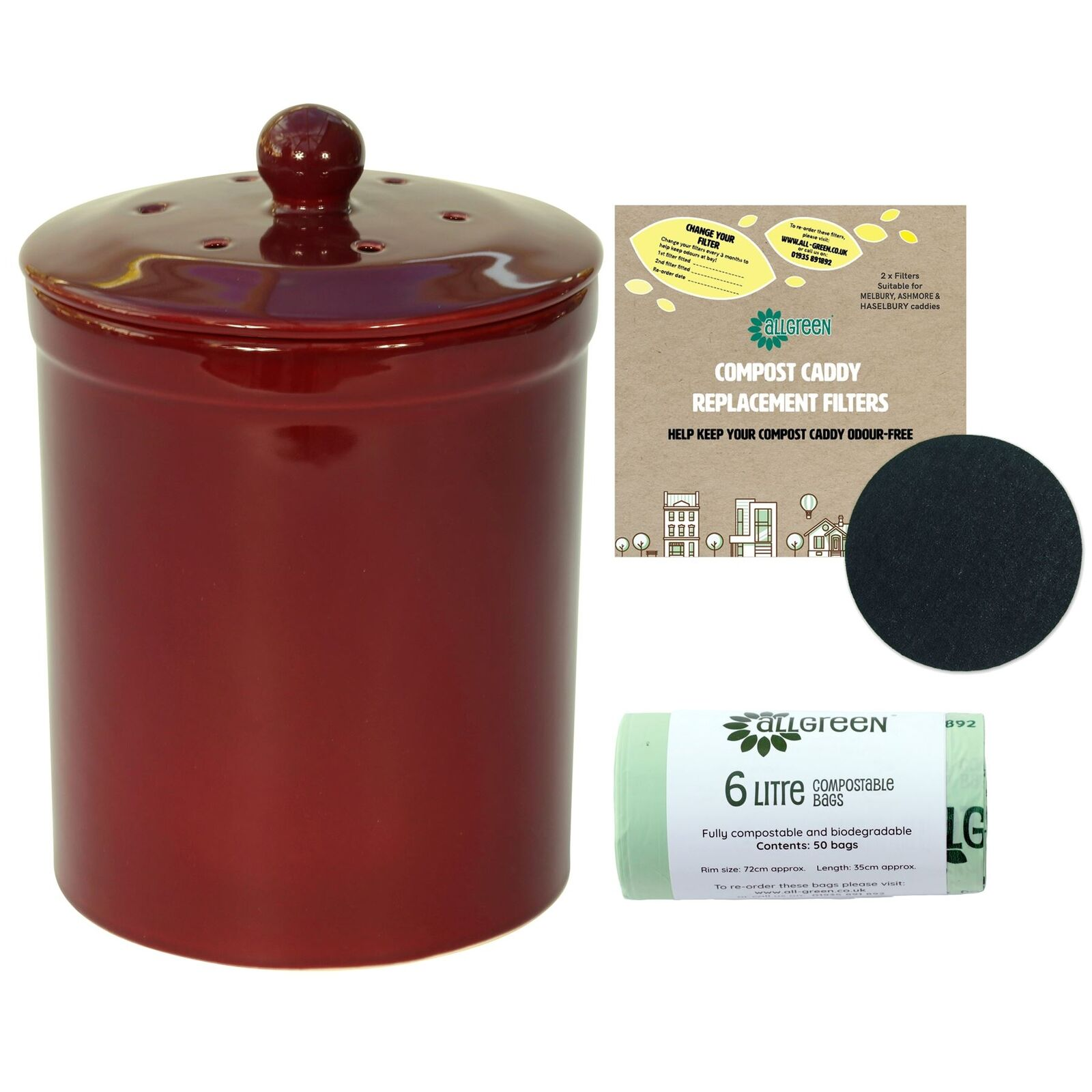 Burgundy Melbury Ceramic Compost Caddy - 2 Filters & 50x6L Compostable Bags