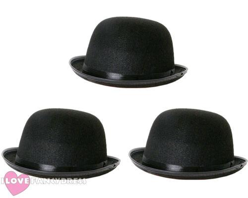 BLACK FELT BOWLER HAT MENS LADIES FANCY DRESS MULTI PACK LOT 55CM 58CM 60CM
