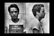 Framed Print - Police Mugshot Ted Bundy Serial Killer (Picture Poster Dark Art)