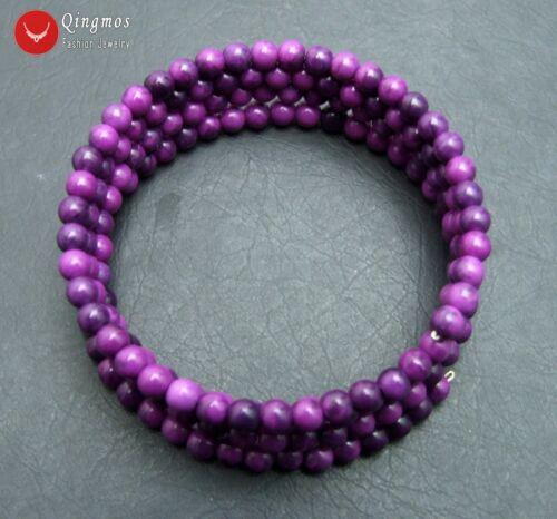 4-5 Mm Ronde Violet naturelles Sugilite Steel Wire Wrap Bracelet for Women bra442