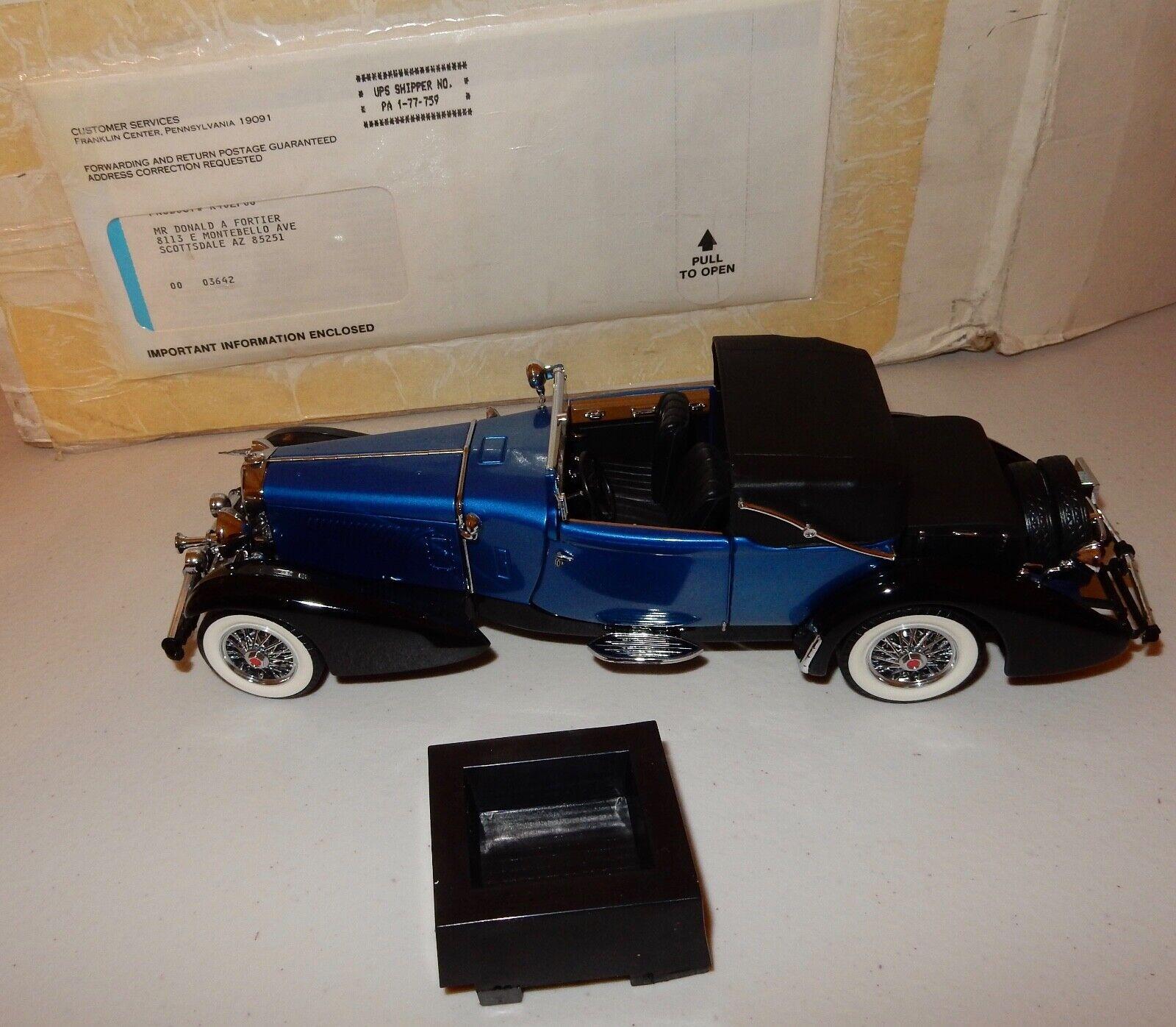 1 24 Franklin Comme neuf 1933  Duesenberg J Victoria en bleu B11RU77  sortie en ligne