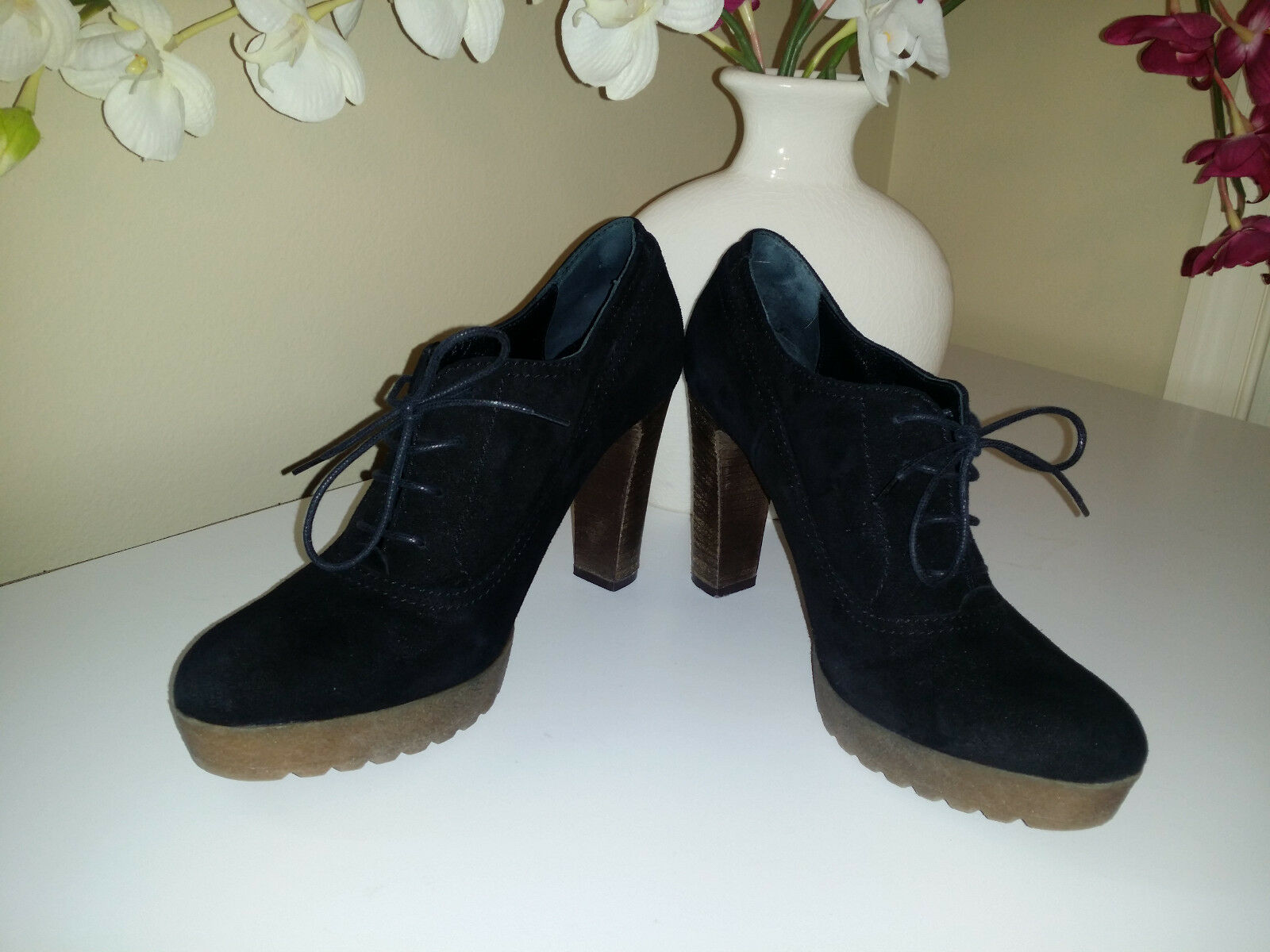 MANAS Lea Foscati Black Suede Lace Up Platform Heels Oxford shoes Sz.38   ITALY
