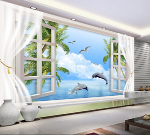 3D Dolphin Bird 557 Wallpaper Murals Wall Print Wallpaper Mural AJ WALL AU Lemon