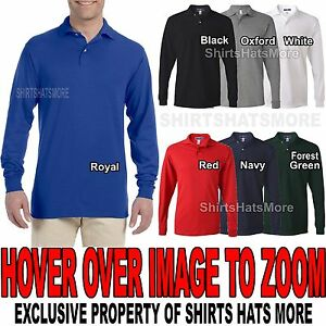 Mens LONG SLEEVE Polo Jerzees Poly/Cotton with SPOTSHIELD S, M, L, XL, 2XL NEW
