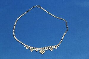 "Sparkle Stones Diamante 15"" 38cm Necklace Silver Tone Dress Set Prom Sparkly"