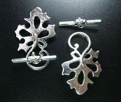 10 Sets Tibetan Silver Leaf Toggle Clasp R1523