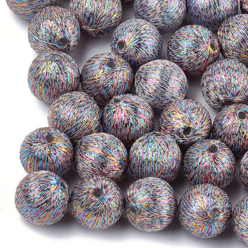 10x Plastic Round Beads Rainbow Polyester Thread Covered Unique Spacers 16x17mm