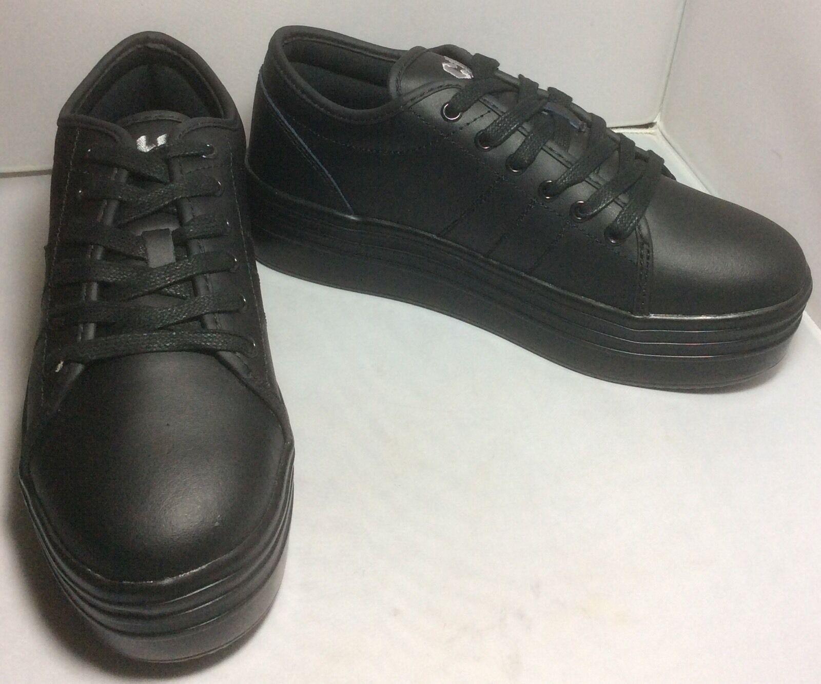 Nuevo Sin Caja Lindo a la plataforma plataforma plataforma central de Cuero Negro Zapatillas Tamaño 7.5  liquidación hasta el 70%