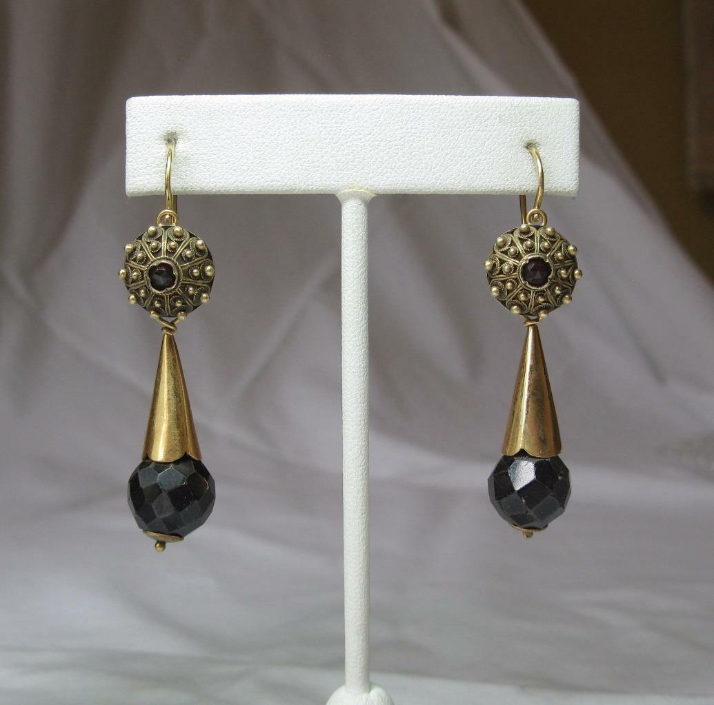 Garnet Earrings Day Night gold Etruscan Revival c1860 Victorian Museum Quality