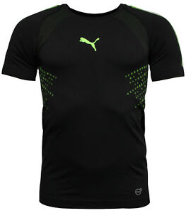 4be02f812 Puma EvoKnit evoTRG IT Black Green Thick Mens Training T-Shirt ...