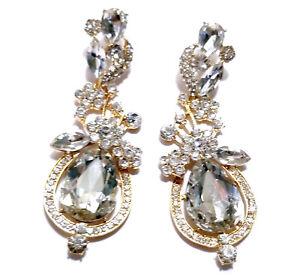 Chandelier-Earrings-Rhinestone-3-7-inch-Pageant-Bridal-Drag-Prom-Clear-Teardrop