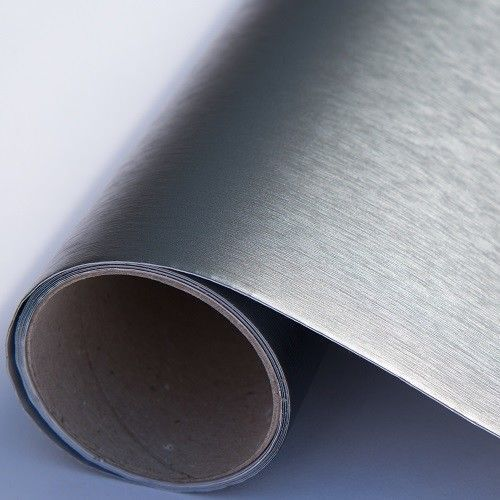 D C Fix gris en acier brossé Métallisé Sticky Back Plastic Self Adhesive Vinyl Film
